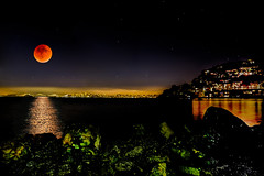 Sonder (jana-elise) Tags: outdoors outdoor night moon reflection water nighttime summer sausalito skyline lights orange bloodmoon landscape moonlight midnight rocks island city sf sanfrancisco ocean surreal unreal bayarea landscapephotography canon5dmarkiii