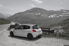 Built for mountain roads (Iceman_Mark) Tags: renault clio sport rs phase 3 200 cup black pearl white noir blanc givre nacr limited edition 2litre naturally aspirated four cylinder 2010 summer july passo spluga splgen splgenpass italy italia alps