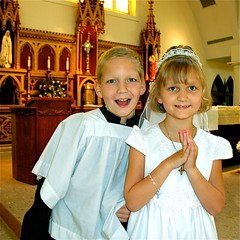 Happy day (sadrollieman) Tags: catholic church boy girl brother sister love god happy 1870 nikkor nikon zoom d70s