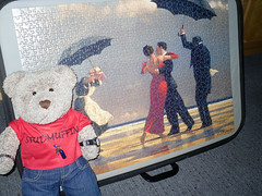 Who dances on the beach? In the rain?? (pefkosmad) Tags: singingbutler jackvettriano art painting scottish contemporary modern popular jigsaw puzzle ravensburger figures people beach umbrellas man woman dancing maid butler tedricstudmuffin ted teddy bear soft stuffed toy plush cuddly fluffy cute