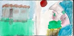 die Menschheit hatte den Mond erreicht. Ihr erschien das unendlich weit zu sein. Auerdem war sie mit dem Fortschritt ihrer Art vollauf zufrieden (raumoberbayern) Tags: sketchbook skizzenbuch tram munich mnchen bus strasenbahn herbst winter fall pencil bleistift paper papier robbbilder stadt city landschaft landscape auto car red rot