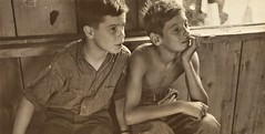 Boys watching a puppet show in Red House, WV 1937 (SSAVE w/ over 6 MILLION views THX) Tags: greatdepression 1937 benshahnphotographer redhousewv boys shirtless