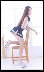 nEO_IMG_DP1U1237 (c0466art) Tags: blue school light portrait cute sexy girl beautiful face canon studio nice uniform long pretty pants underwear legs gorgeous young skirt short figure attractive lovely charming yuko hight 1dx c0466art
