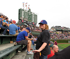 My sister, Donna (debstromquist) Tags: family chicago illinois baseball il wrigleyfield bleachers lakeview chicagocubs mlb majorleaguebaseball baseballgames manualscoreboards