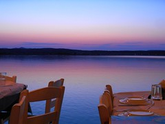 Blue hour dinner at Lemnos, Greece /    (Ath76) Tags: blue sea azul dinner islands twilight europe mediterranean mediterraneo view greece grecia hour hora meal griechenland grce islas heure bleue iles limnos yunanistan isole grekland lemnos       lemno