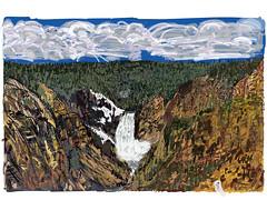 My Drawings - Yellowstone National Park (thor_mark ) Tags: trees nature landscape waterfall unitedstates outdoor canyon cliffs digitalpainting yellowstonenationalpark wyoming lookingwest ipad hillsides grandcanyonofyellowstone artdigital cloudsabove blueskieswithclouds adobeillustratordraw adobedraw dayathaydenvalleygrandcanyonofyellowstone