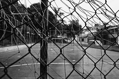 Street Soccer (Guilherme Nicholas) Tags: street brazil blackandwhite white black net monochrome football sopaulo soccer streetphotography