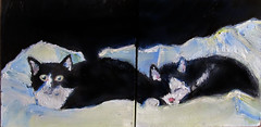 Tuxedo Cats Photoshop (kevin63) Tags: cats painting penguin panda canvas tuxedo oil myrtle lightner lingling diptyc furbearing gallerywrap
