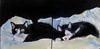 Tuxedo Cats Photoshop (kevin63) Tags: cats painting penguin panda canvas tuxedo oil myrtle lightner lingling diptyc furbearing gallerywrap