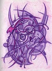 Purple Entity (darksaga66) Tags: art face ink robot purple mask cyborg penandink inkart bookofink
