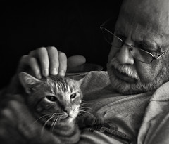 Not now (Anne Worner) Tags: portrait pet man blur monochrome lensbaby cat dark beard happy mono glasses lowlight feline soft hand looking affection ears olympus whiskers petting attention relaxed tender tomcat contented e510 doting sweet35 anneworner