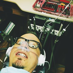 165 | 366 | V (Randomographer) Tags: portrait man face self work office fear down dental tools gas patient human headphones scared dentist laying selfie oxide conscious nitrous 165 366 laughinggas project366