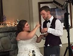 Cake! (knoopie) Tags: 2016 may iphone picturemail wedding reception kayla chris family pinelakecommunitycenter pinelake sammamish kaylaandchris2016 cake topper
