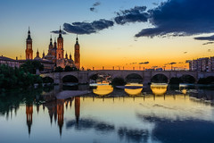 Cathedral in Zaragoza (hamzaqayyum) Tags: travel bridge sunset church water reflections spain cathedral sigma zaragoza