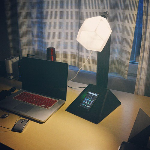It's alive!!! #DIY #wirelesscharger for #nexus5 #nightlamp