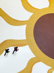 """Walking on Sunshine"" (Azul Adnan) Tags: street people sun yellow mall shopping walking design floor sunflower sunwaypyramid 2guys"