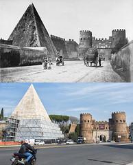 Piazzale Ostiense (1865) - http://bit.ly/1AGh0Ri (Roma Ieri Oggi) Tags: old rome roma foto layers merge piramide rephotography vecchie nuove sovrapposizione piazzaleostiense romaierioggi