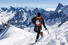 (Hervé KERNEIS) Tags: snow france ice alpes altitude helmet glacier neige chamonix glace montagnes axes frenchalps aiguilledumidi casque alpinist rhônealpes sacàdos grandesjorasses alpiniste 3842m hautemontagne piolets nikond700 tamron2470mmf28 hautesavoie74 patagoniaascensionist