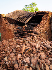 Collapsed village house (whitworth images) Tags: trees nepal roof house broken stone rural earthquake asia village hill damaged himalayas rubble naturaldisaster collapsed 2015 indiansubcontinent kumpur dhadhing nepalearthquake2015