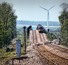 Feeling Queasy (whosoever2) Tags: uk greatbritain railroad england windmill haze nikon track unitedkingdom yorkshire rail railway junction heat oil gb freight colas class60 60056 d7100 6e32 applehurst