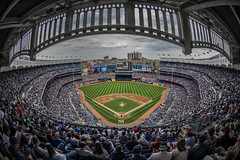 Yankee Stadium (Brandon Godfrey) Tags: nyc newyorkcity newyork game sport baseball cloudy stadium overcast fisheye arena ballgame borough thebronx yankees depth yankeestadium ballpark feild
