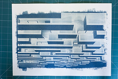 Cyanotype (Leandro C Rodrigues) Tags: blue abstract texture textura lines linhas azul photo shadows outdoor squares border perspective historical sombras alternative cyanotype analogic processo quadrados historico analogico cianotipia a3line