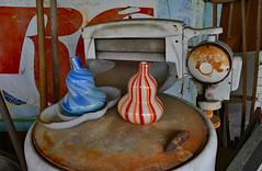 Just Put it on the Washer (BKHagar *Kim*) Tags: blue red orange white glass sign metal shop shopping store junk rust cola stripes rusty thrift rc washer ringerwasher bkhagar