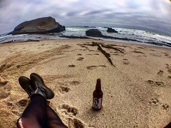 How I'd rather spend my afternoons (cschnaib) Tags: ocean california beach beer clouds pacific pch drake davenport denogginizer