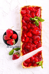 Strawberry jelly topping cheesecake tart, (manyakotic) Tags: red food cake breakfast dessert strawberry berry view sweet top cheesecake homemade slice snack pastry brunch jelly treat ricotta creamcheese tarts baked topping