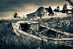 Field Boat (Steve Muise) Tags: old field grass clouds boats boat rustic bard splittone