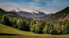 Berchtesgadener Land (Bernd Thaller) Tags: blue trees mountains green germany landscape berchtesgaden village outdoor meadows alpine mountainside