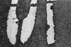 Intersection #1 (robert schneider (rolopix)) Tags: sanfrancisco california ca leica blackandwhite bw film monochrome 35mm paint kodak tmax pavement calif stop 400 lettering 60mm expired tmax400 presidio cracked outdated tmy crazed outofdate r62 robertschneider autaut macroelmaritr bwfp believeinfilm rolopix intersection1
