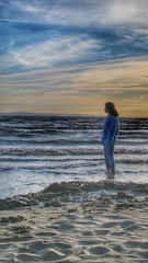 watching the tide come in.. (bluebell girl) Tags: sunset sea seascape beach water coast seaside waves tide burnhamonsea canong12