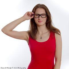Kathryn Jordan (Dana Brady) Tags: red 50mm glasses dress geek homestudio pentaxk3 daveanddanaphotography