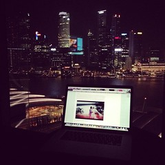 Room View at Night (mayrpamintuan) Tags: city travel light vacation holiday night square asian lights hotel singapore asia southeastasia phone resort citylights hotels resorts roomview hotelroom iphone marinabay phonephotography 2013 marinabaysands iphone5 iphonephotography instagram