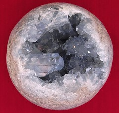 Blue Celestite Geode. 11.5 cm diameter orb.  From Madagascar (lhboudreau) Tags: rock stone rocks crystals crystal stones orb minerals mineral geode madagascar specimen specimens celestite nodules geodes nodule crystalcluster celestitegeode bluecelestite crystalspecimen bluecelestitegeode celestiteorb