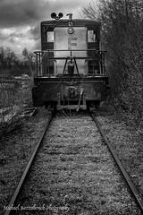 "Brought to you by the letter ""F"" (Michael Bartoshevich) Tags: old railroad blackandwhite clouds train canon cloudy massachusetts scenic tracks engine newengland rail forgotten f locomotive mark5diii"
