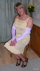 4 A night at the opera (janegeetgirl2) Tags: stockings yellow contrast vintage tv high glamour opera bra crossdressing full tgirl gloves transvestite copper heels slip crossdresser ts nylon petticoat stilettos fully nylons garters fashioned seams