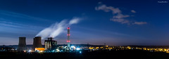 Rugeley Nightscape - Rugeley Power Station, Rugeley, Staffordshire (Gary Woodburn) Tags: sky station night canon stars power streetlights towers steam 24mm staffordshire cooling 6d rugeley samyang