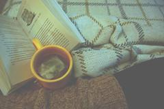 i solemnly swear i am up to no good (kellymckeefoos) Tags: coffee yellow reading book cozy bed nikon warm tea leg harry potter knit yarn blanket warmers
