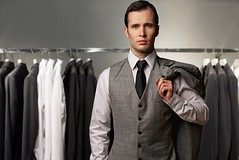 What are the rules for matching clothes? (tipsofguy) Tags: white man male classic fashion shop businessman shirt standing vintage closet mall shopping grey store clothing 60s adult display sale many lifestyle tie style row wear clothes suit jacket rack boutique customer choice vest wardrobe elegant sell hang luxury purchase gentleman waistcoat consumer apparel choosing buying garment welldressed businessperson