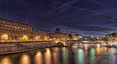 Blue hour over the Seine (marko.erman) Tags: city bridge blue light sky paris france seine architecture night clouds contrast reflections river dark justice eau cityscape sony horizon palace rivire notredame pont bluehour paysage extrieur conciergerie pontauchange