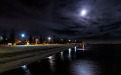 Landscape - Nightowl (Jacs_Pics) Tags: autumn moon water night clouds reflections landscape lights sand may altona 2016 altonabeach project52 dogwood52 dogwoodweek20 landscapenightowl