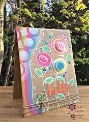 Scribbled Flowers Hello Card (Mixed Media) (Joy's Studio) Tags: mixedmedia simonsaysstamp sssworkitwednesday sheenajoy joysstudio sssflickrchallenge45