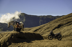 Horse Man and motocycle (narenrit) Tags: horse man motocycle land sand mount mountains contractor east asia tour travel top hill indonesia