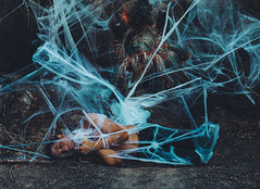 Walking into spiderwebs 38/365 (Carlos Castaeda') Tags: spider giantspider spiderweb pray body forrest woods trees deadtrees shirtless me selfportrait edit vsco presets film lightroom expansion photoshop blue yellow tarantula food