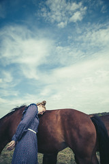 A girl and her horses (magdalena.russocka) Tags: girl woman horse horses country countryside animal colour narrative emotive evocative vintage storytelling illustration illustrator village sun sunlight sky clouds