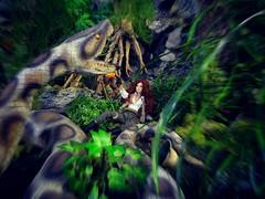 Sssssnake! (MiskatonicNick) Tags: giselle maisoui integritytoys doll fashionroyalty nuface playscale 16 diorama sixthscale giantsnake jungle