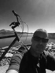 Enjoying the Moment (Blue Rave) Tags: diamondvalleylake hemet california biking lake trail iphonephotography iphoneography bike bicycle bw blackandwhite 2016 self myself ego me bloke dude guy male mate people selfie fuji water reservoir