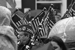 Pipes of Jersey Shore in Mono (Michael C. Hall) Tags: roseoftralee kerry ireland festival tralee street band pipes bagpipes